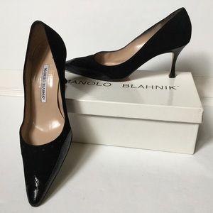 Manolo Blahnik black suede patent leather pump, 38